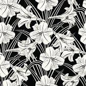 Seamless Black & White Lily Pattern