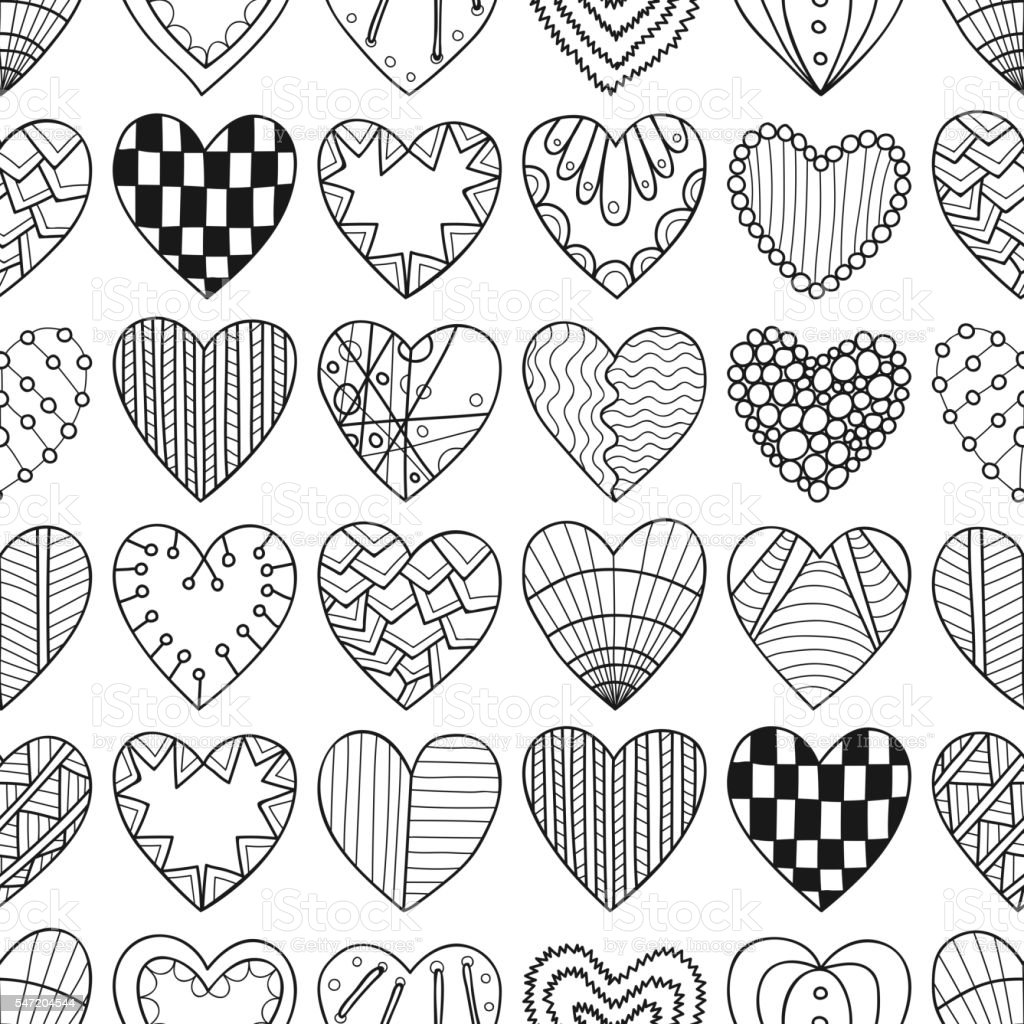 seamless black white pattern with decorative hearts for coloring