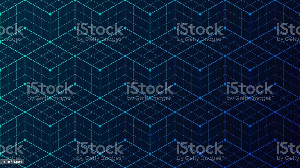 Seamless Block Data Connection Network Background vector art illustration