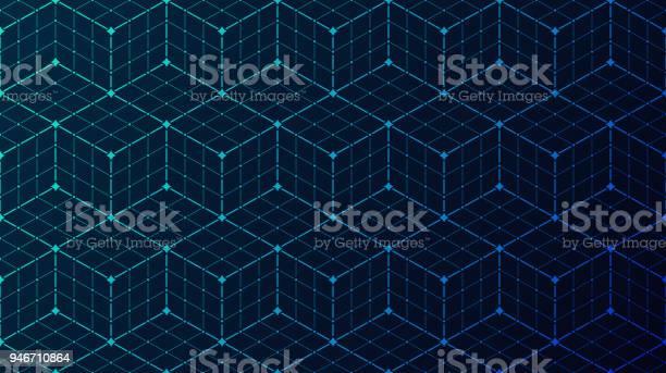 Seamless Block Data Connection Network Background - Immagini vettoriali stock e altre immagini di A forma di blocco