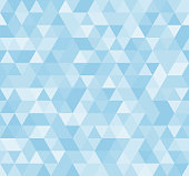 Seamless blue abstract pattern. Geometric print composed of triangles and polygons. Background