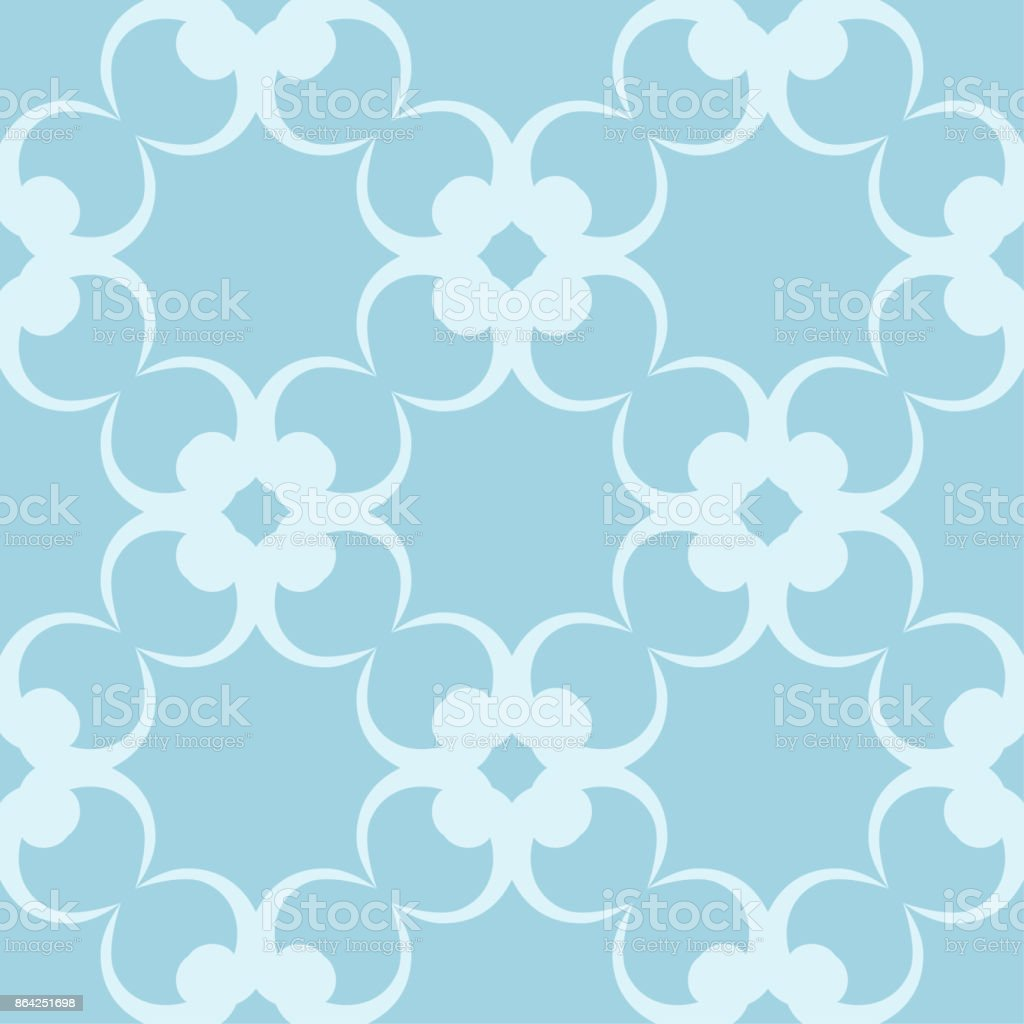 Seamless Blue And White Pattern With Wallpaper Ornaments Stock
