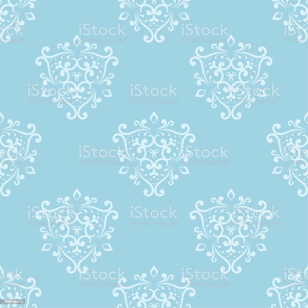 Seamless Blue And White Pattern With Wallpaper Ornaments Royalty Free
