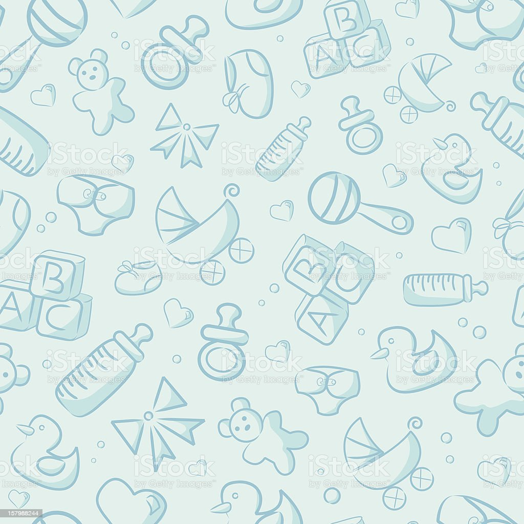 Seamless Blue Baby Background vector art illustration