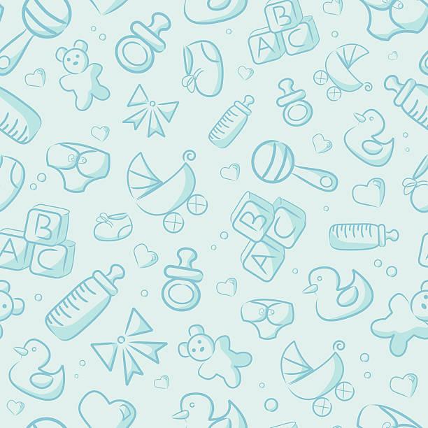 ilustrações, clipart, desenhos animados e ícones de sem costura fundo azul bebê - bebês