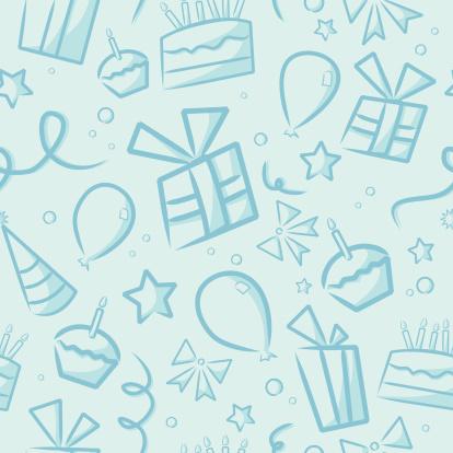 Seamless Blue Birthday Background