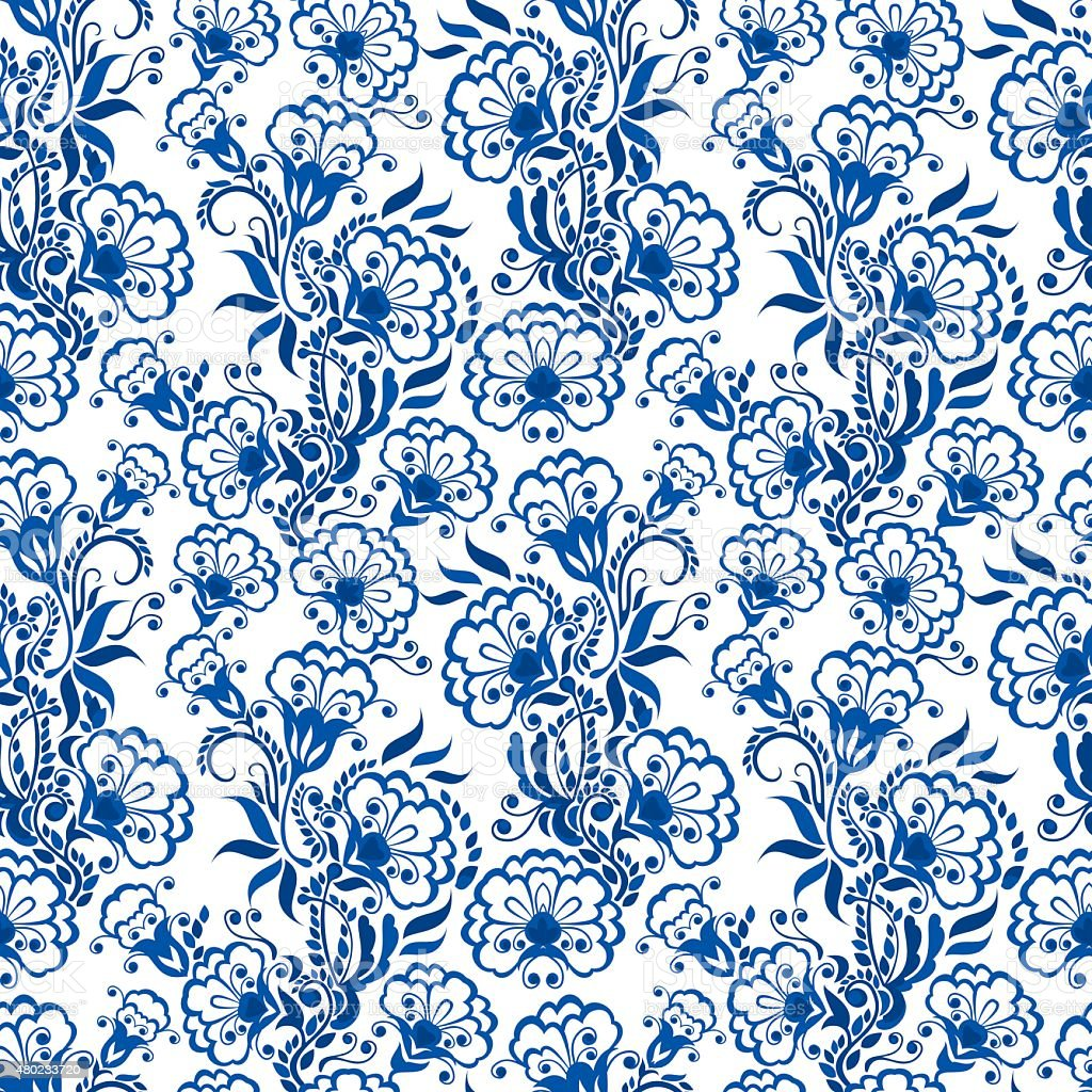 Seamless blue floral pattern. Russian gzhel style. vector art illustration