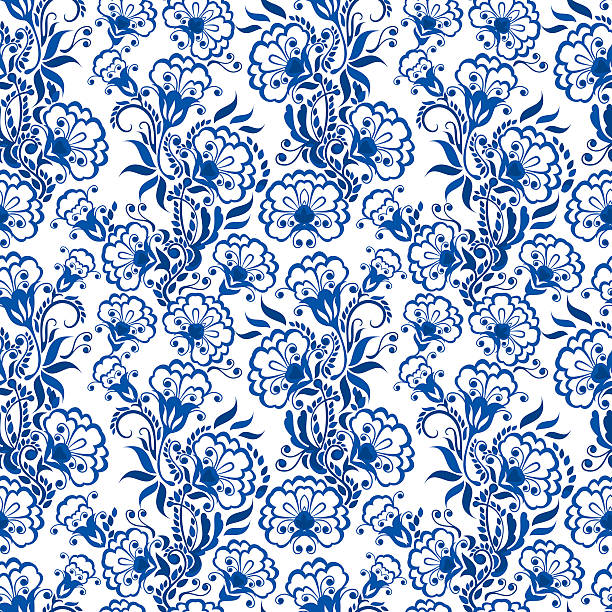 ilustrações de stock, clip art, desenhos animados e ícones de sem costura padrão floral azul. russo gzhel estilo. - lian empty