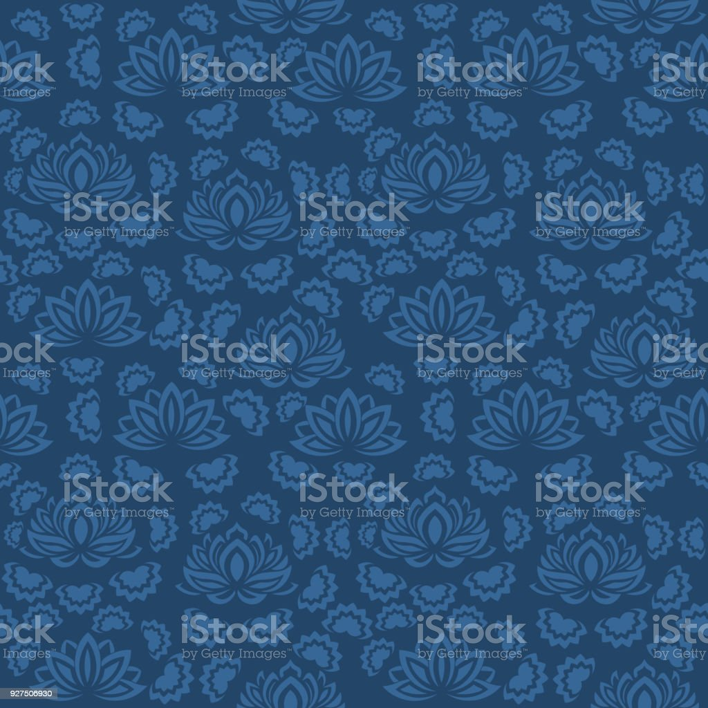 Seamless Blue Floral Pattern Vector Endless Texture Can Be Used For Wallpaper