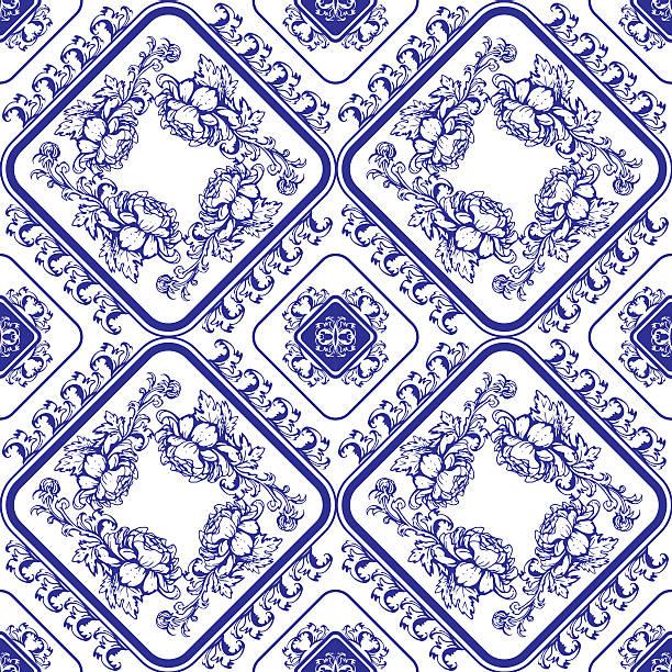 ilustrações de stock, clip art, desenhos animados e ícones de sem costura padrão floral azul. - lian empty