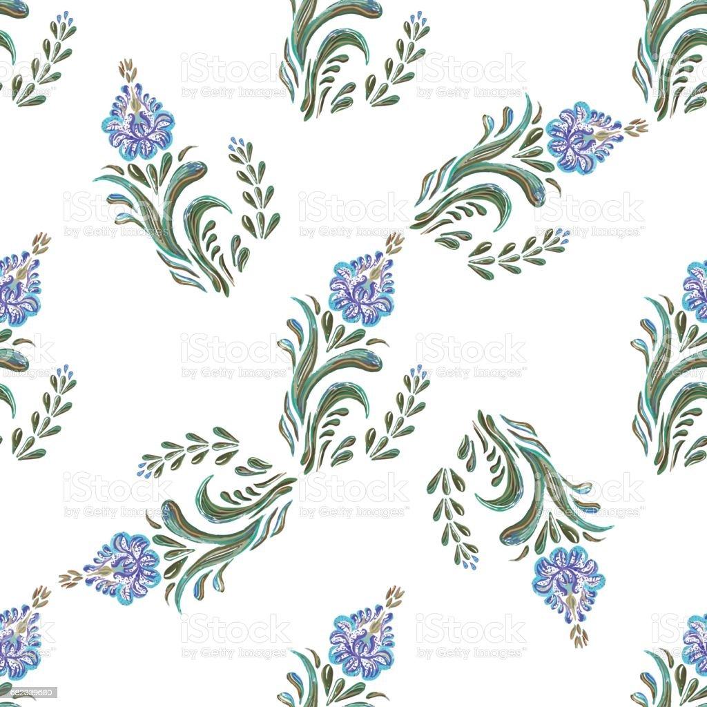 Seamless blue  floral  pattern royaltyfri seamless blue floral pattern-vektorgrafik och fler bilder på abstrakt