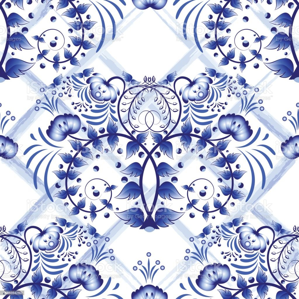 Seamless blue floral pattern with lattice strips of watercolor. Imitation of painting on porcelain in the Russian style Gzhel or Chinese painting. vector art illustration