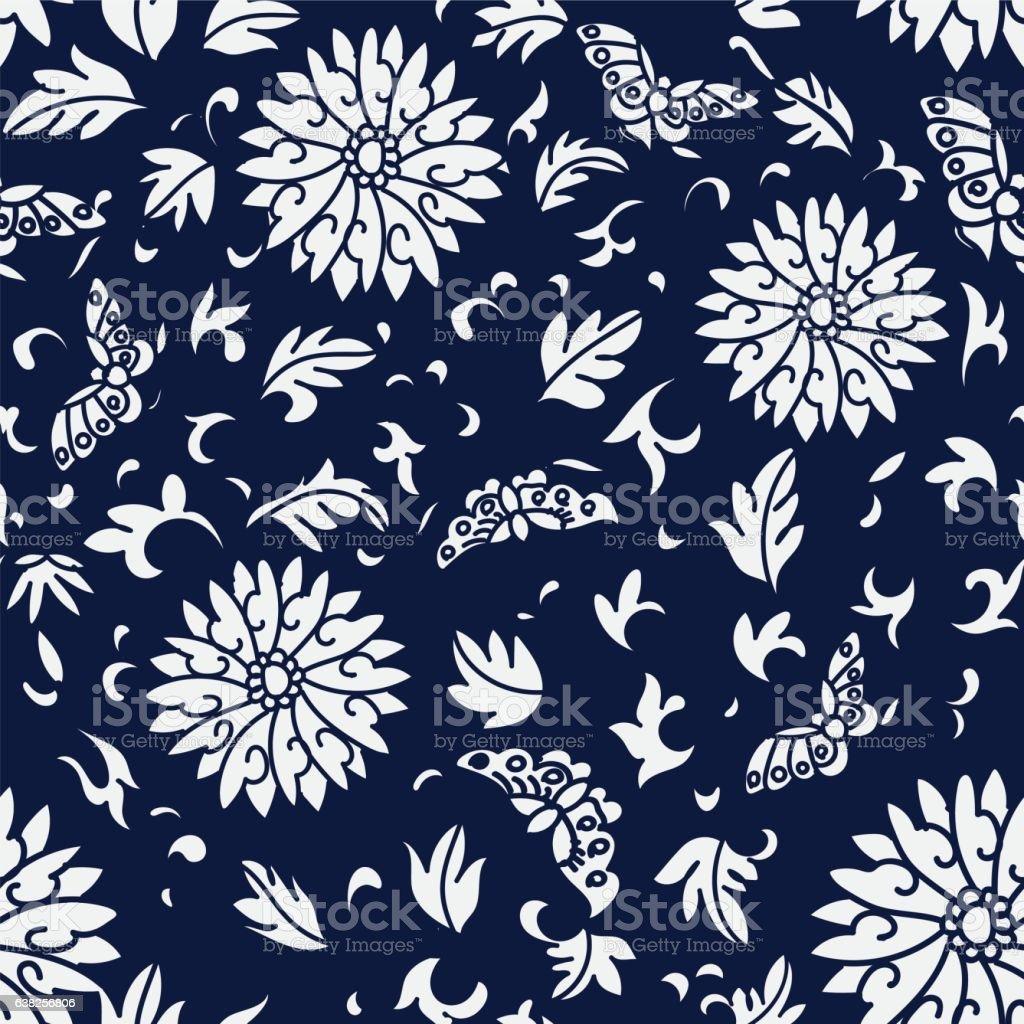seamless blue japanese background spiral round flower butterfly
