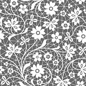Seamless white and gray lace background with floral pattern