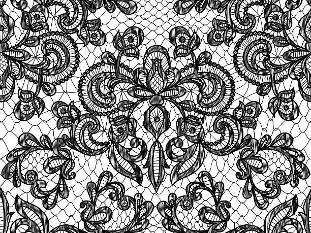 Seamless blue lace Seamless black lace background with floral pattern lace textile stock illustrations