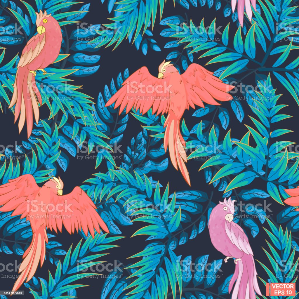 Seamless blue pattern, pink parrots. royalty-free seamless blue pattern pink parrots stock vector art & more images of abstract