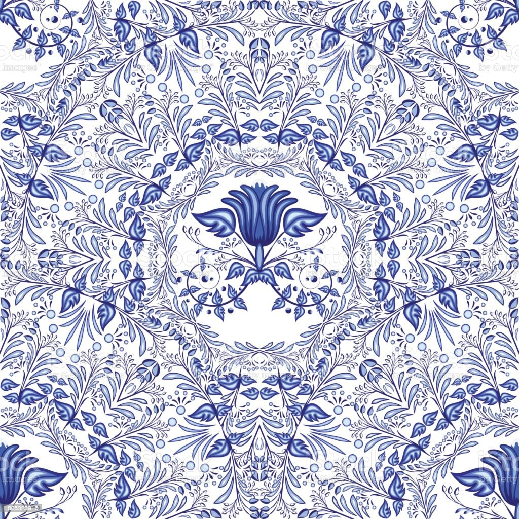 Seamless blue pattern. Repeating floral pattern of circular ornaments. Background of flowers in the style of Chinese painting on porcelain. vector art illustration