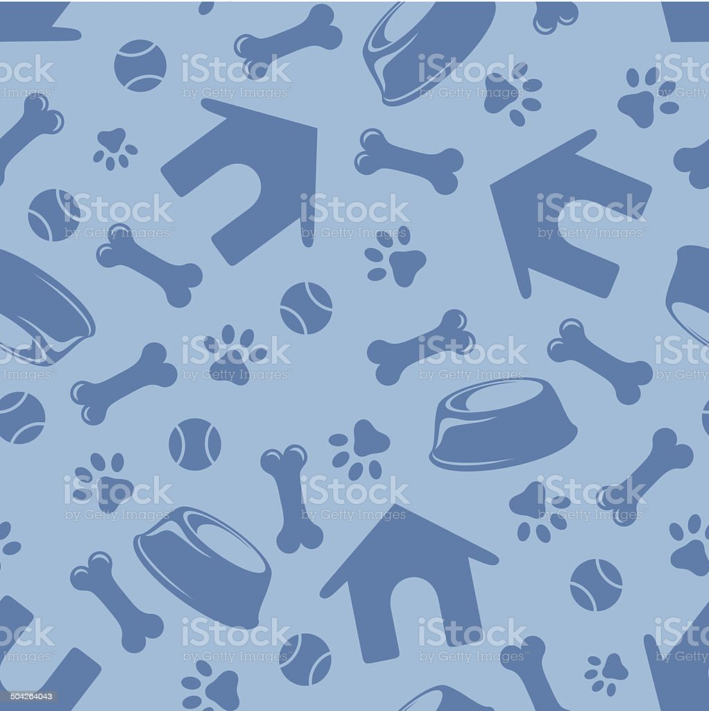 Seamless blue pattern with dogs symbols. Vector illustration. - Royalty-free Abstract stock vector