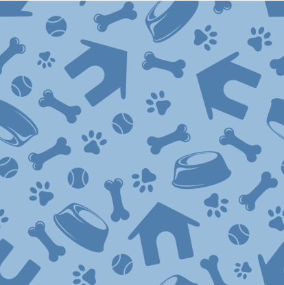 Seamless blue pattern with dogs symbols. Vector illustration.