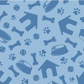 Vector seamless blue pattern with doghouses, paws, bones, bowls and balls.