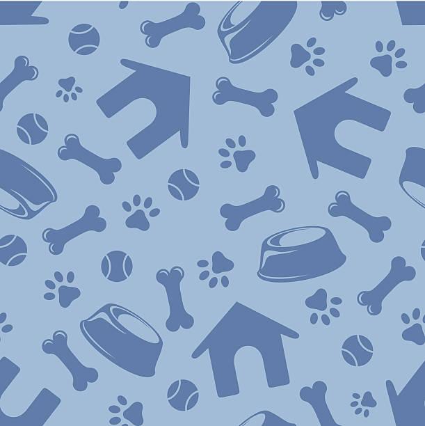 Nahtlose blaue Muster mit Hunden Symbole.  Vektor-illustration. – Vektorgrafik