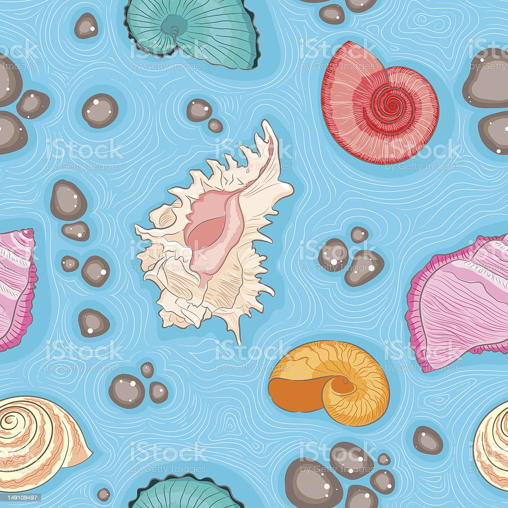 Seamless blue pattern with shells royalty-free seamless blue pattern with shells stock vector art & more images of backgrounds