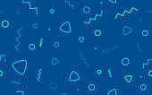 Seamless blue retro abstract line shapes background pattern.
