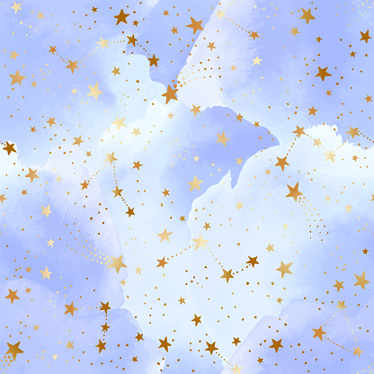 Seamless blue sky pattern with gold foil constellations, stars and watercolor clouds