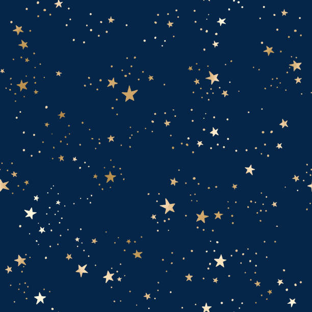 Seamless blue space pattern with gold constellations and stars Vector seamless galaxy blue pattern with gold constellations and stars. Golden space background star stock illustrations