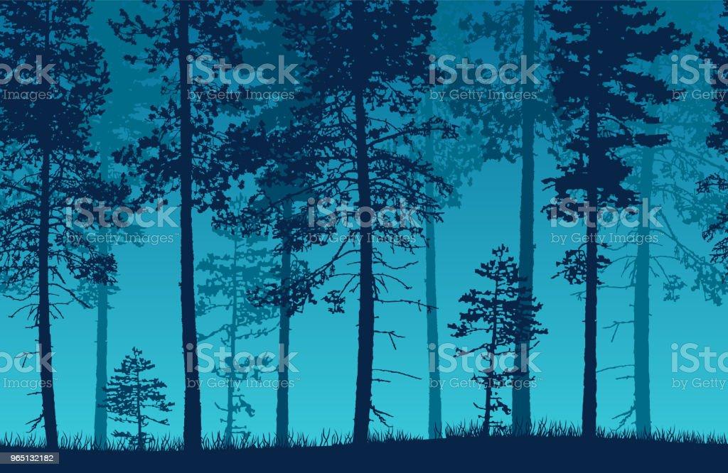 Seamless blue vector forest landscape with coniferous trees and grassy land. seamless blue vector forest landscape with coniferous trees and grassy land - stockowe grafiki wektorowe i więcej obrazów bez ludzi royalty-free