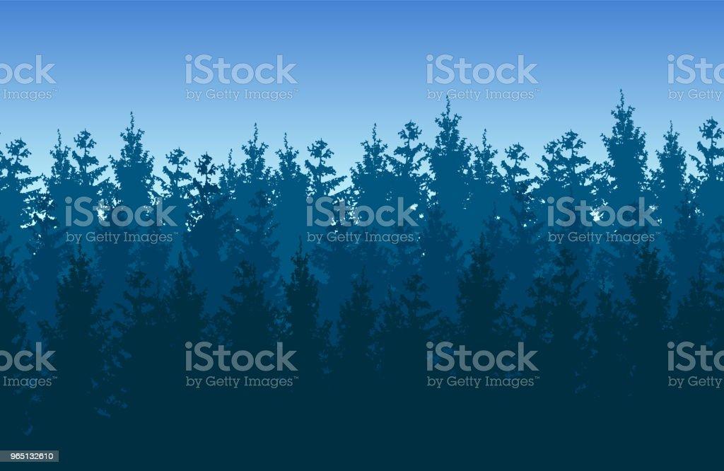 Seamless blue vector forest landscape with coniferous trees. seamless blue vector forest landscape with coniferous trees - stockowe grafiki wektorowe i więcej obrazów bez ludzi royalty-free