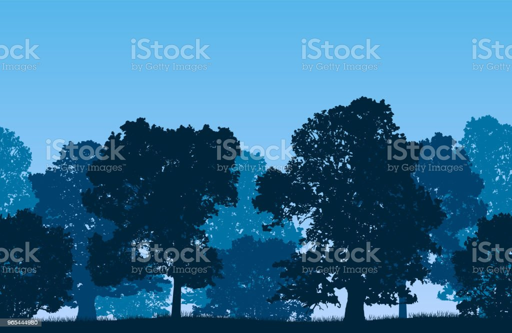 Seamless blue vector forest landscape with deciduous trees and grassy land. royalty-free seamless blue vector forest landscape with deciduous trees and grassy land stock vector art & more images of adventure