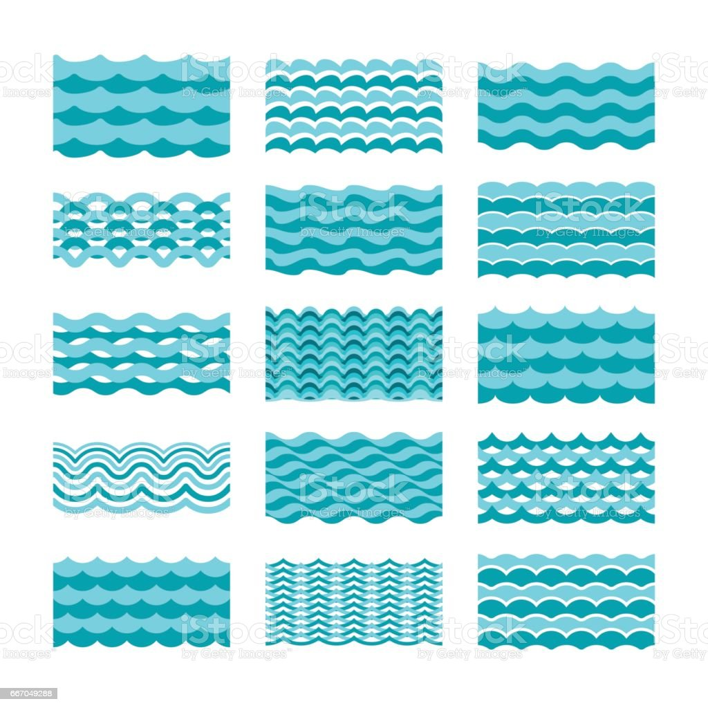 Seamless Blue Water Wave Vector Tiles Set For Patterns And ...