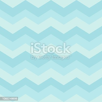 Seamless blue zigzag pattern. Waves background for children's bedroom, kids nursery, cloth, textile, fabric, wrapping. Vector Illustration.
