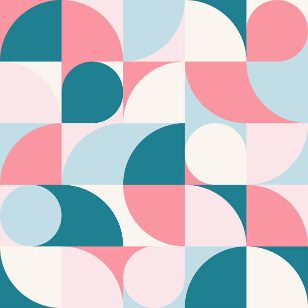 nahtlose blau-rote pastell abstrakte geometrische druck. vektor mehrfarbige illustration. original geometrische muster. - tapete stock-grafiken, -clipart, -cartoons und -symbole