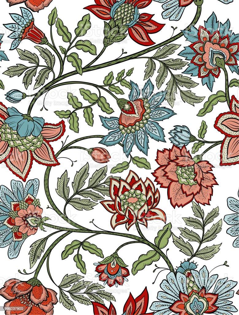 Seamless Bohemian Floral Pattern Mandala Paisley Flowers Stock