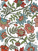 Intricate vintage style seamless floral pattern tile in dusty blue and red tones