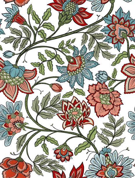 stockillustraties, clipart, cartoons en iconen met naadloze boheemse bloemmotief - paisley bloemen mandala - batik