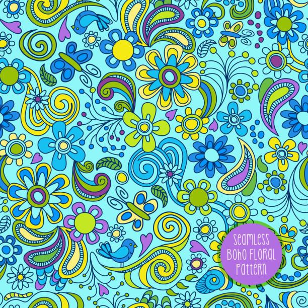Seamless Boho floral pattern. vector art illustration
