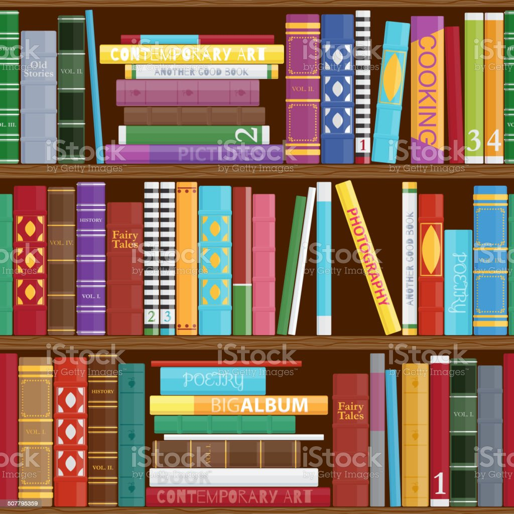 Seamless Book Shelves Background Colorful Book Covers Pattern Stock ...