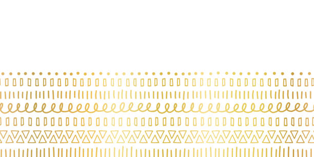 Seamless border Gold foil Ethnic and tribal motifs. Hand drawn golden doodle strokes, lines, triangles repeating ribbon. Modern decor for cards, poster, invitation, wedding, celebration, banner. vector art illustration