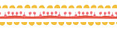 Seamless border hand drawn doodle illustration. Vector kids pattern abstract. Ribbon trim. Yellow, red, pink repeating design. Use for kids fabric, cards, birthday invites, children decor, banner.