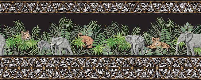 Seamless border pattern of vector savannah safari animals and golden chains fringe with zebra stripes. Lion and tiger cub, elephant, branches, grass, herbs and palm tree leaves on a black background