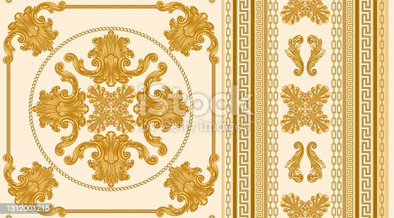 istock Seamless border pattern print on a beige background, Gold chains and cables, Greek Meander frieze, Baroque scrolls and pearl shell. Scarf, neckerchief, kerchief, carpet, rug, mat frieze 1312001215