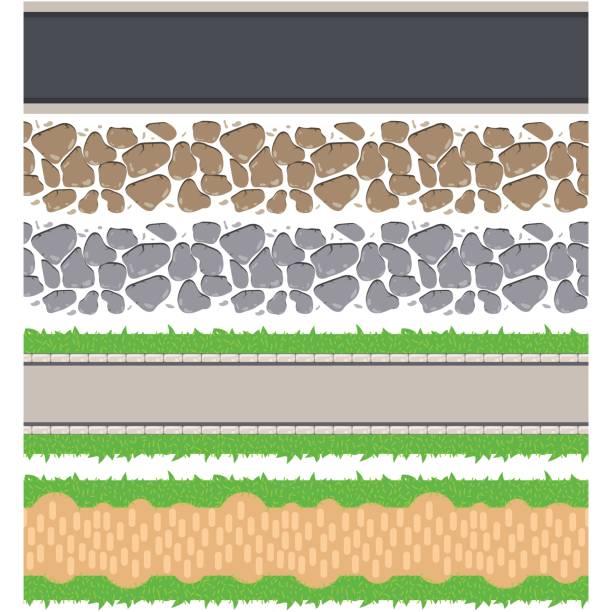 nahtlose grenze straßen und schiene. vektor aneinander weg - steinpfade stock-grafiken, -clipart, -cartoons und -symbole