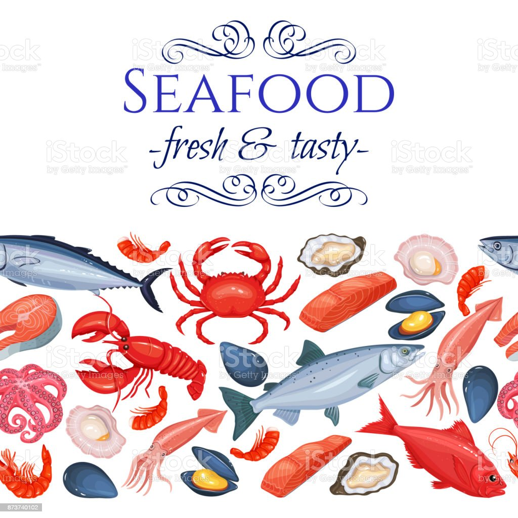 Seamless Border Seafood Products Stock Illustration ...