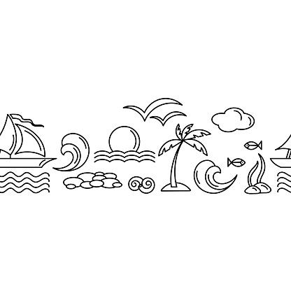 Seamless border. Vacation travel. The concept of sea cruises, vector motif . Monochrome