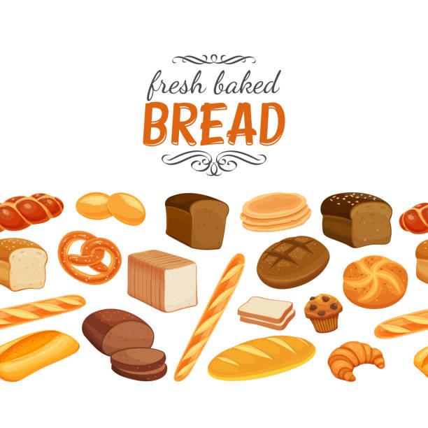 Seamless border with bread vector art illustration