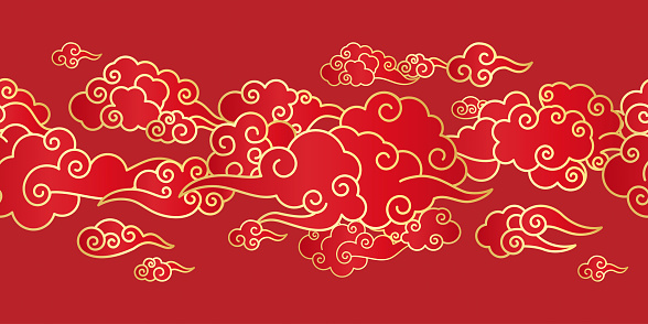Seamless border with Chinese clouds