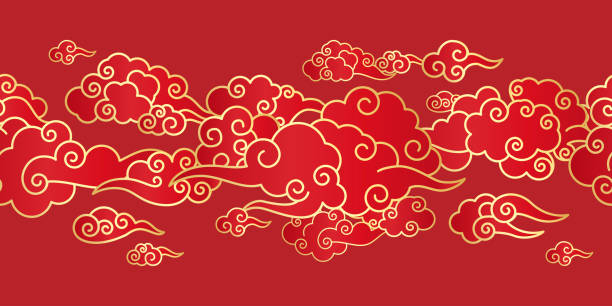 Seamless border with Chinese clouds Seamless border with Golden Chinese clouds different shapes on a red background. Template for oriental art decoration. china stock illustrations